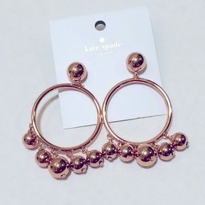 ♠️ Kate spade bauble drop hoops in rose gold NWT